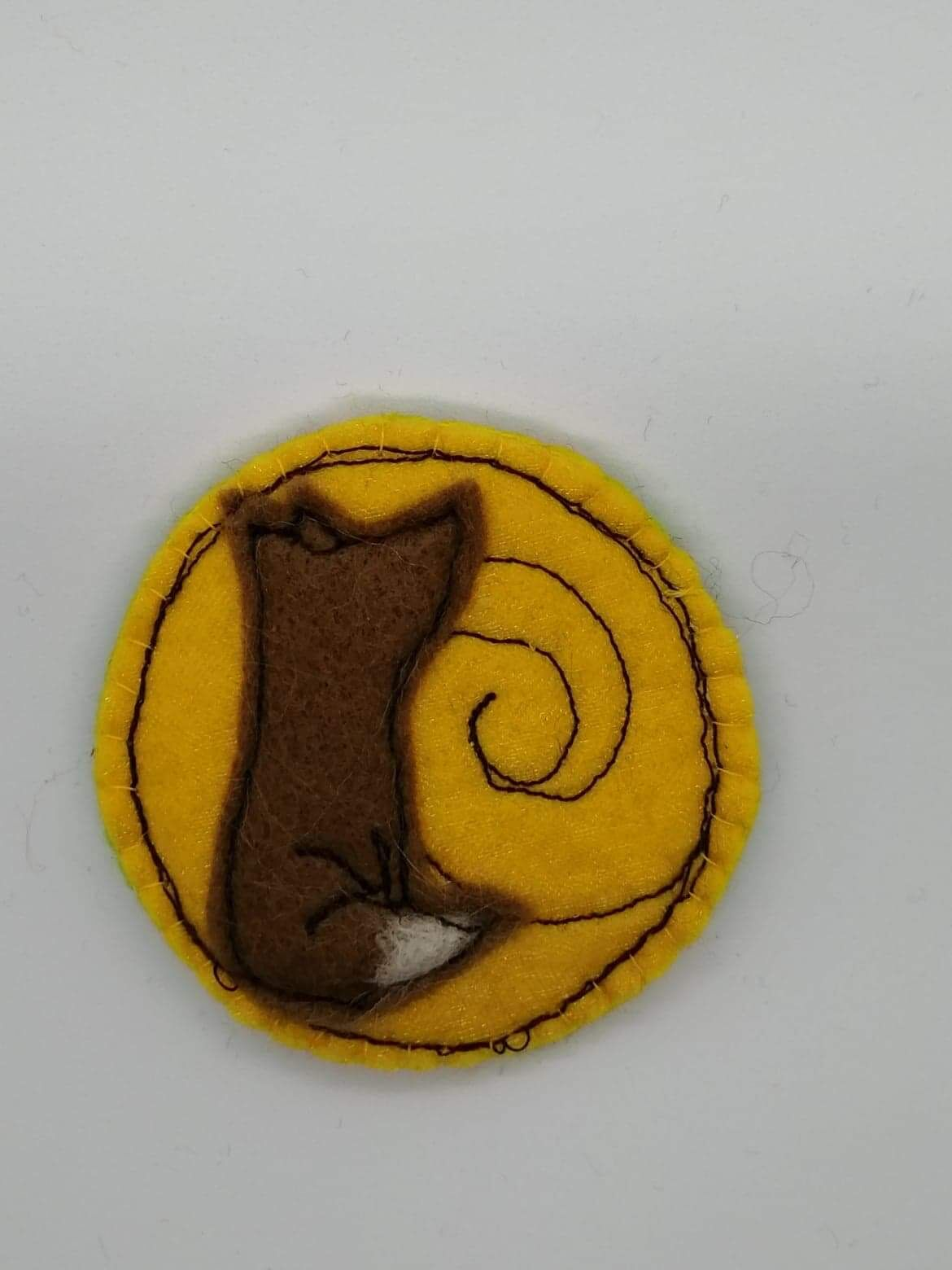 Fox and moon brooch