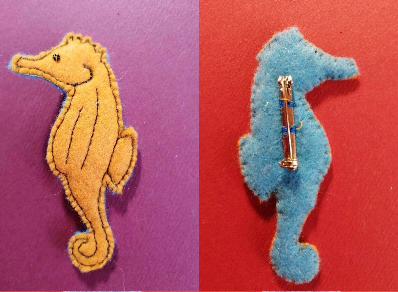 Orange Seahorse brooch