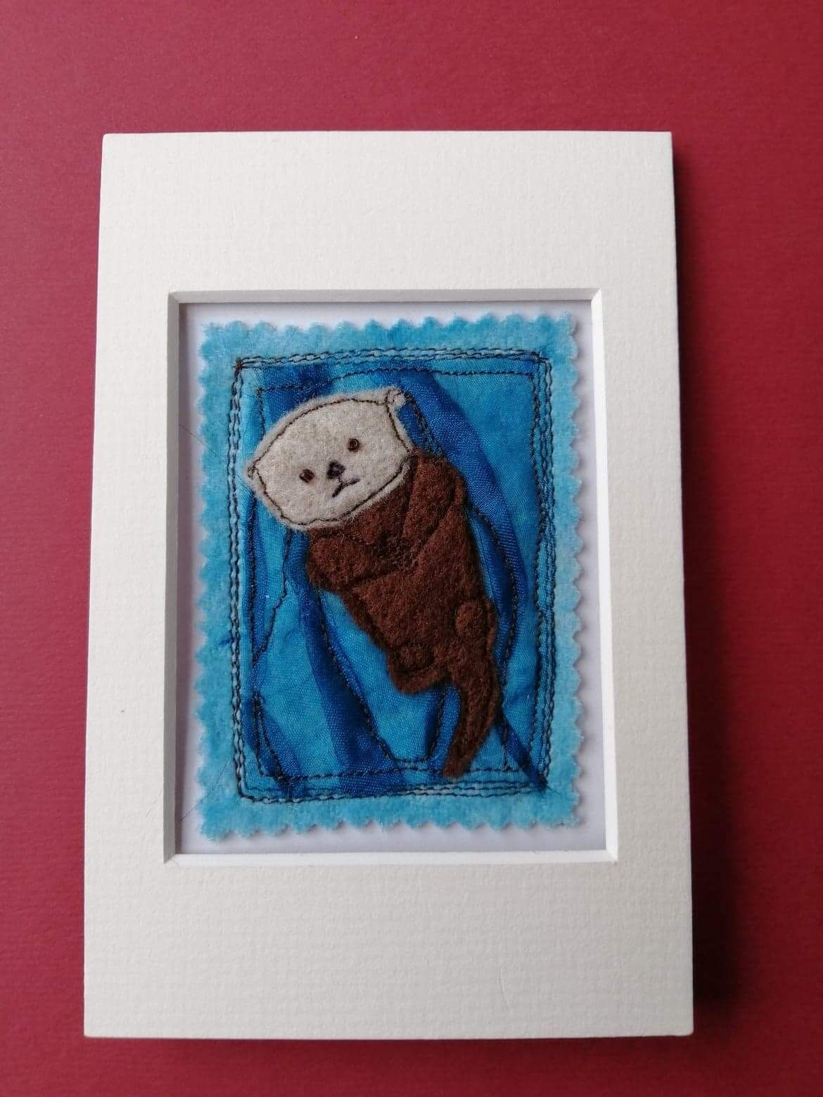 Mixed media sea otter picture