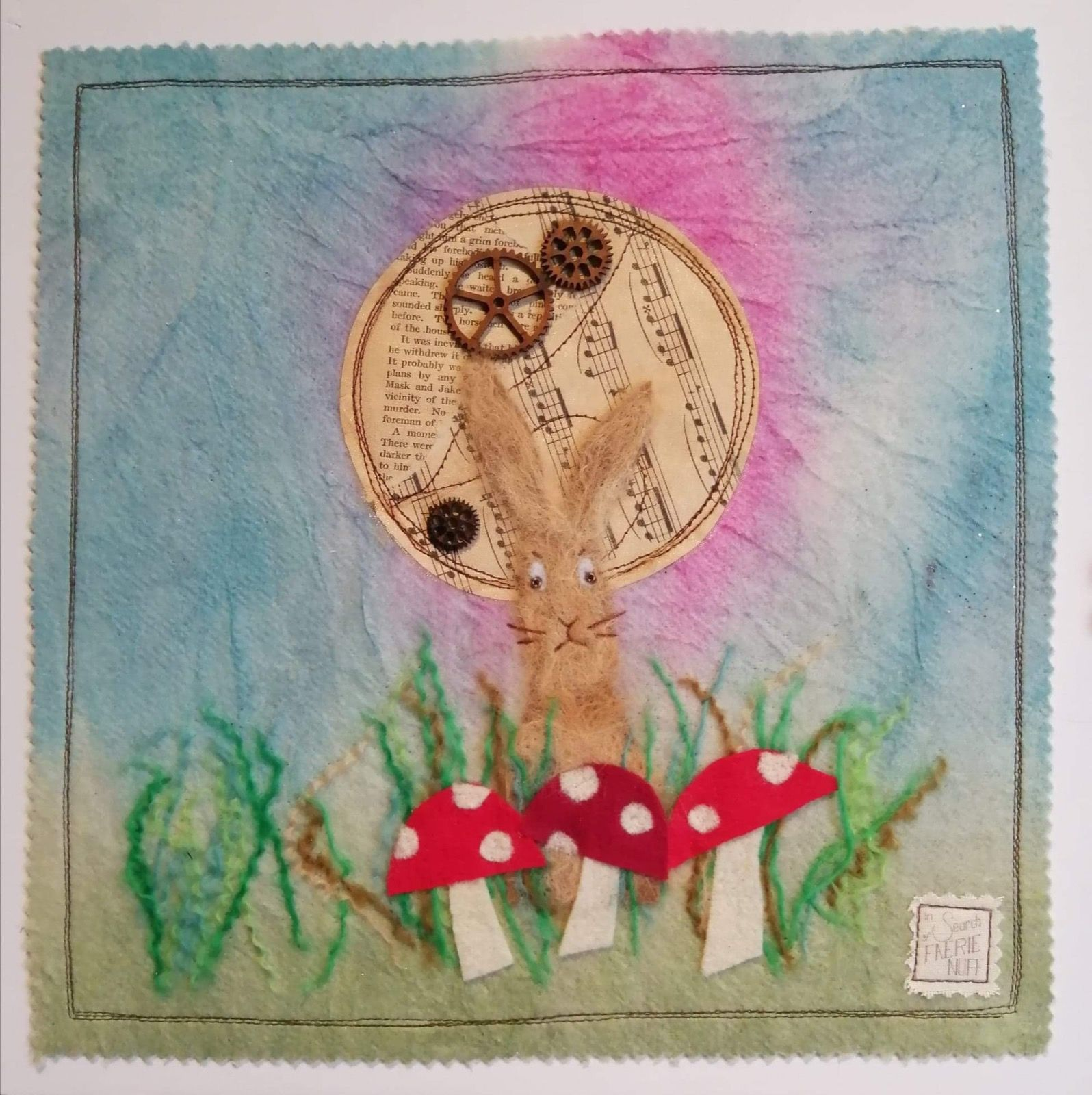 Mixed media hare and toadstools picture