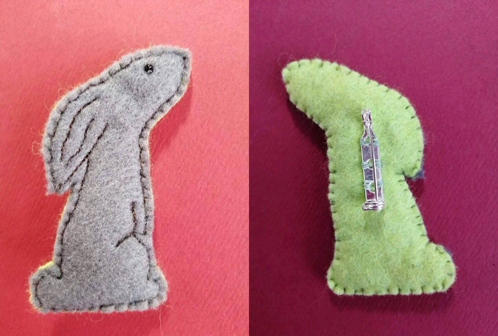 Grey/lime hare brooch