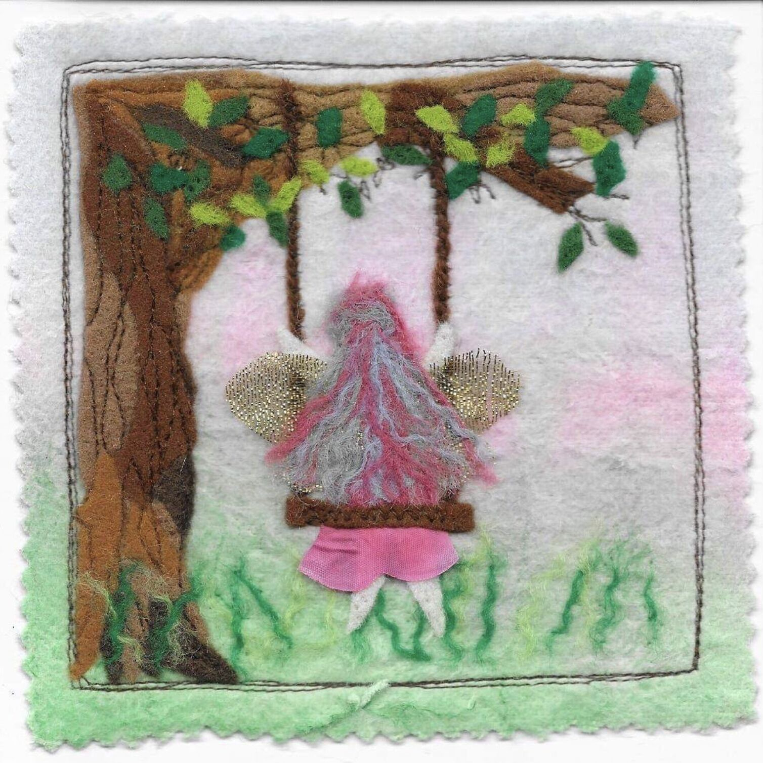 Faerie on a swing card