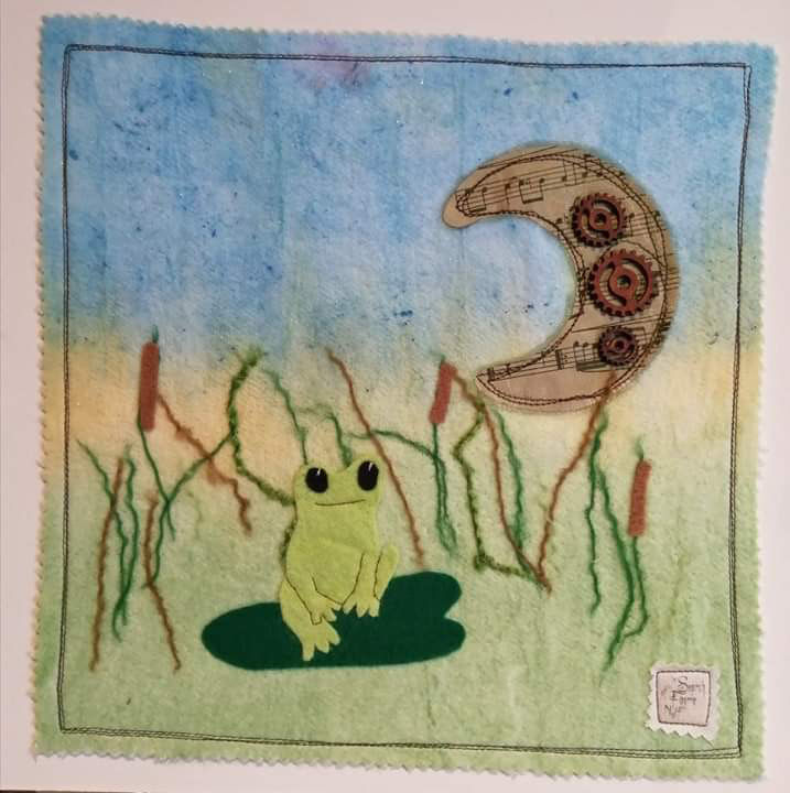 Mixed media frog picture