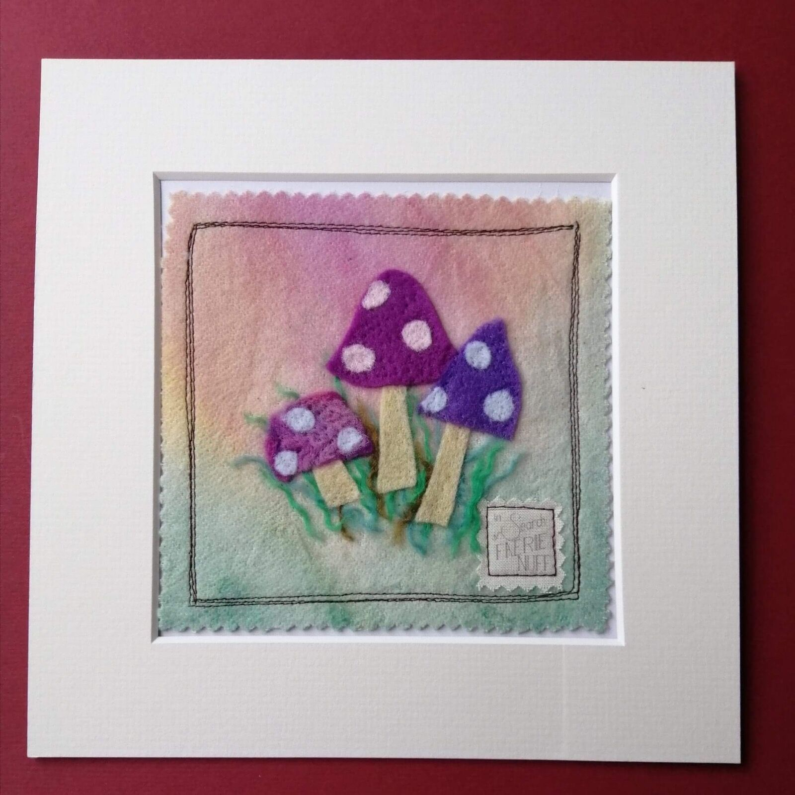 Shades of Purple Toadstools Mixed Media Picture