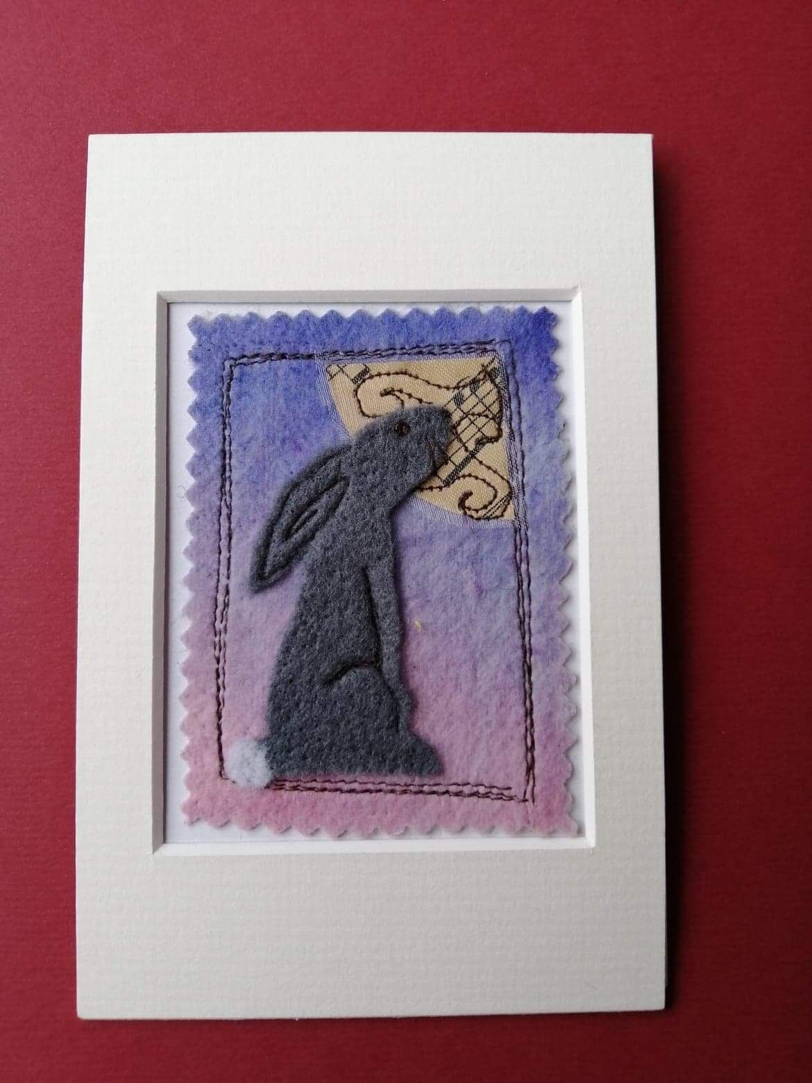 Mixed media hare and moon picture