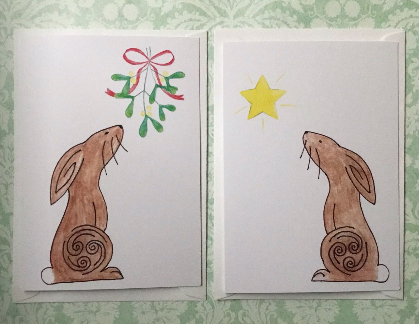 Printed Hare Christmas Cards