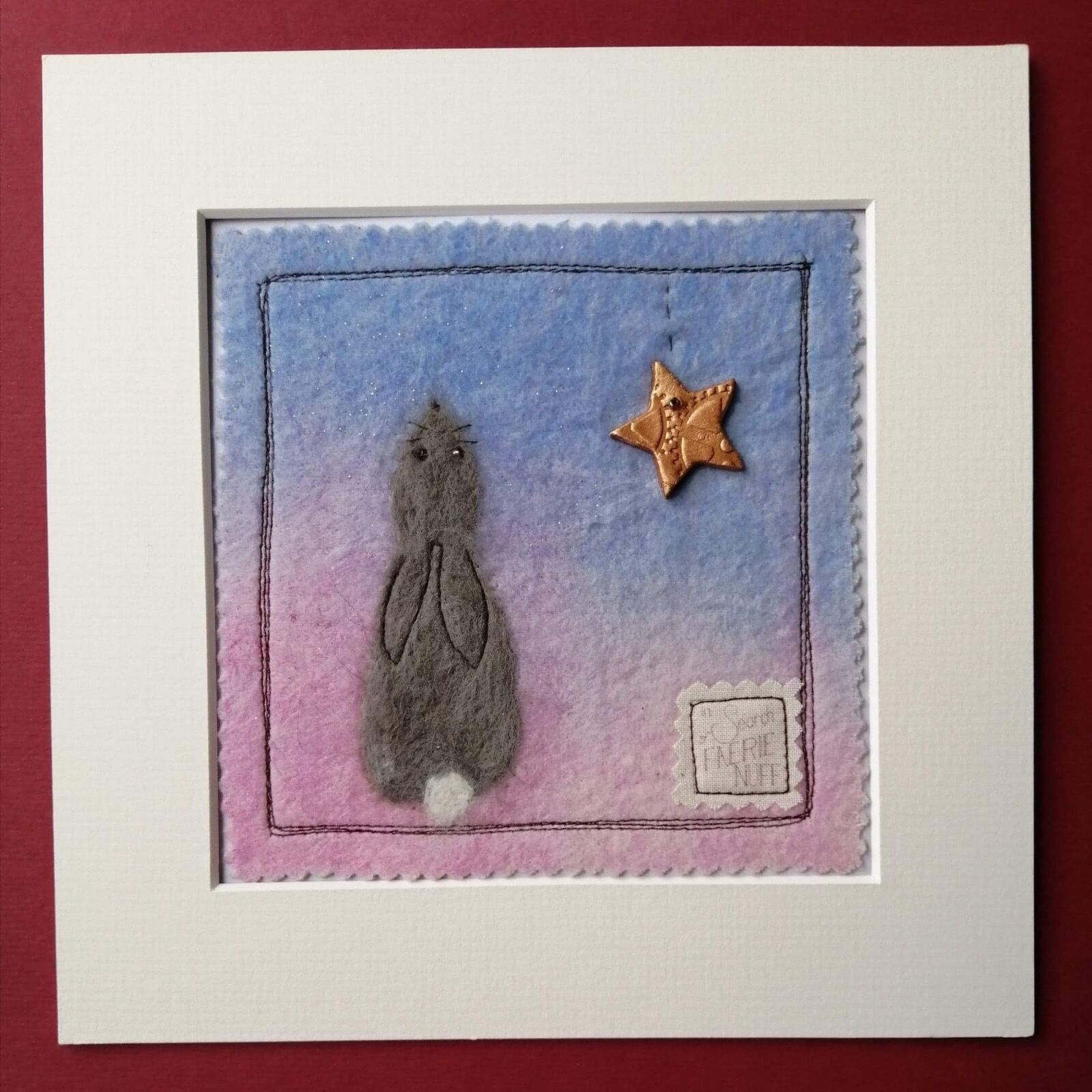 Little grey hare mixed media picture