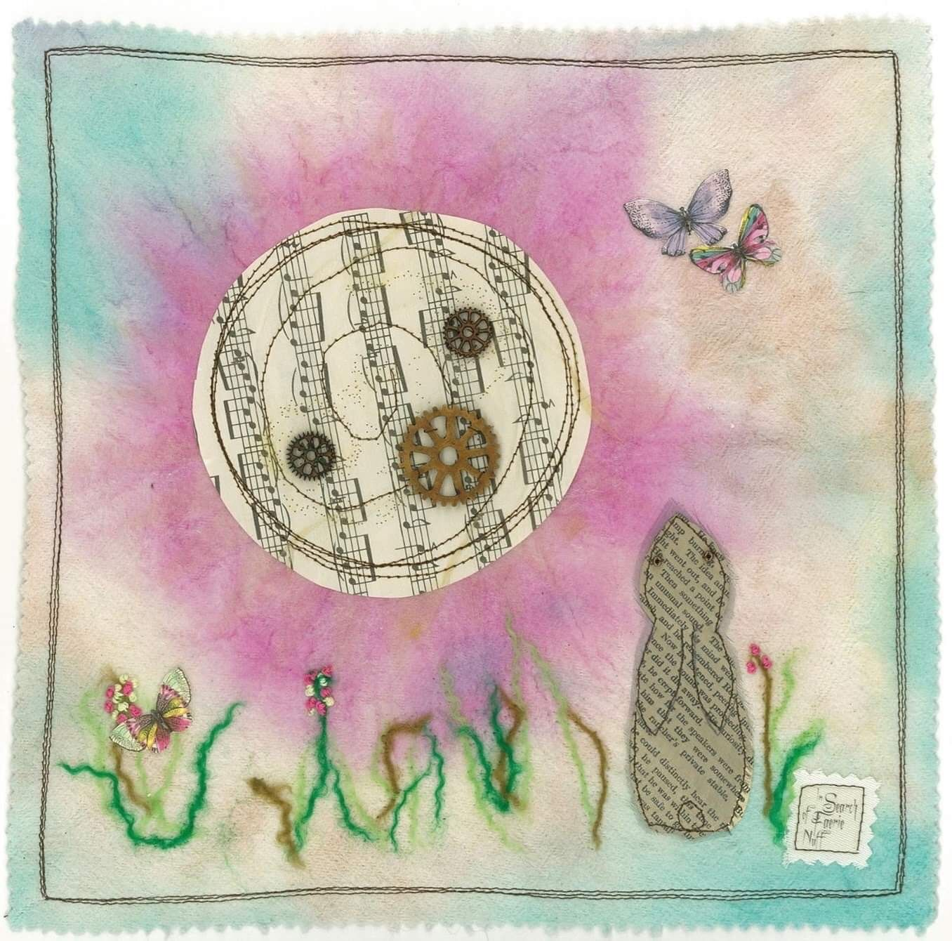Hare and paper moon greetings card