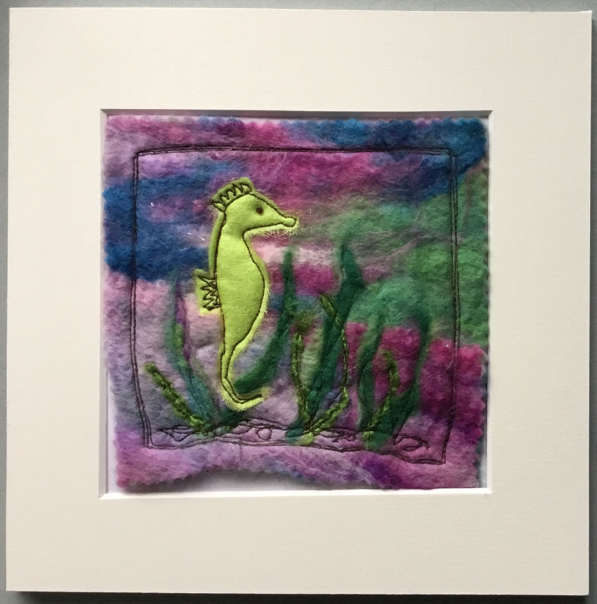 Mixed media seahorse picture
