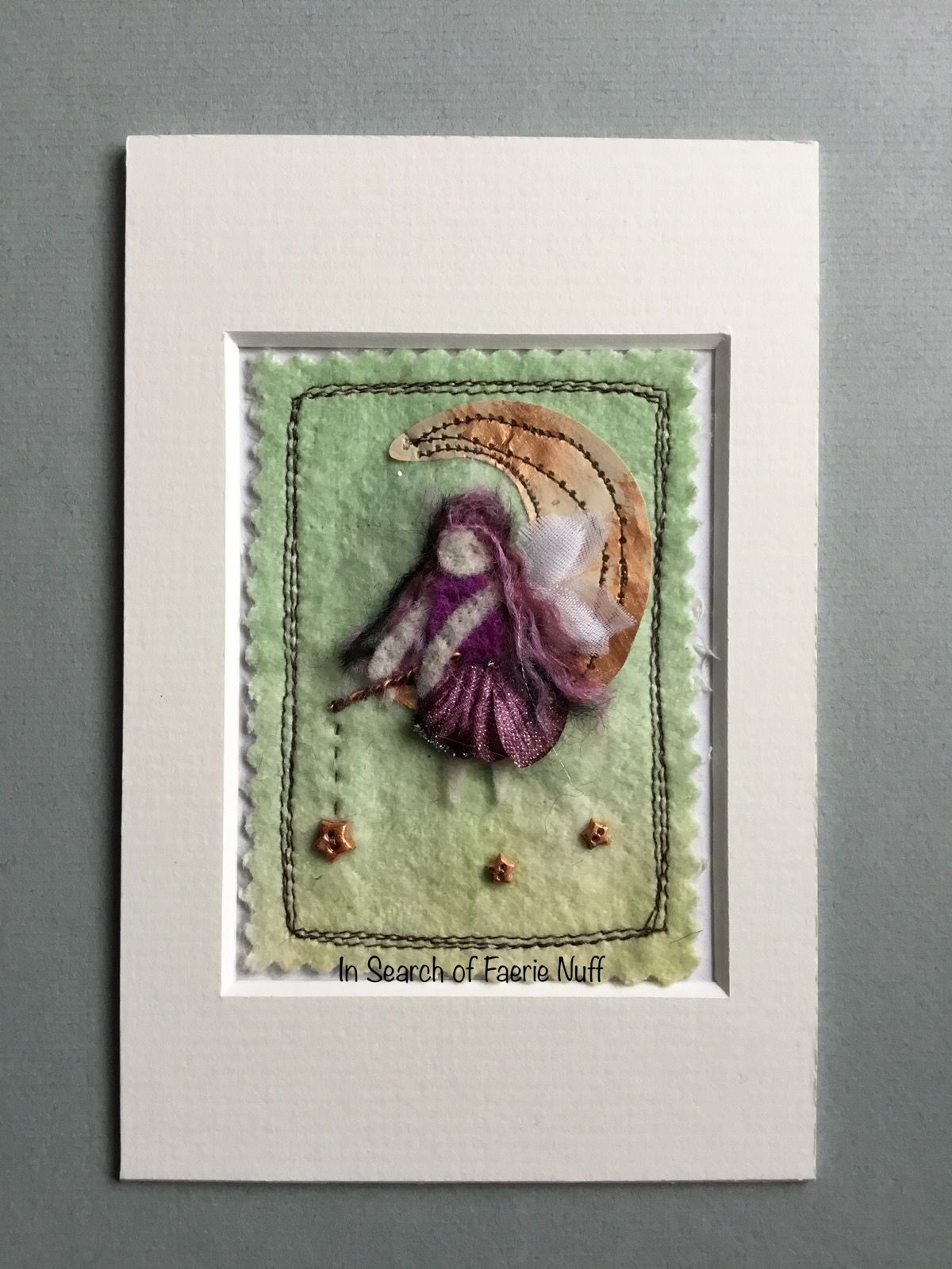Mixed media Faerie fishing for stars ACEO