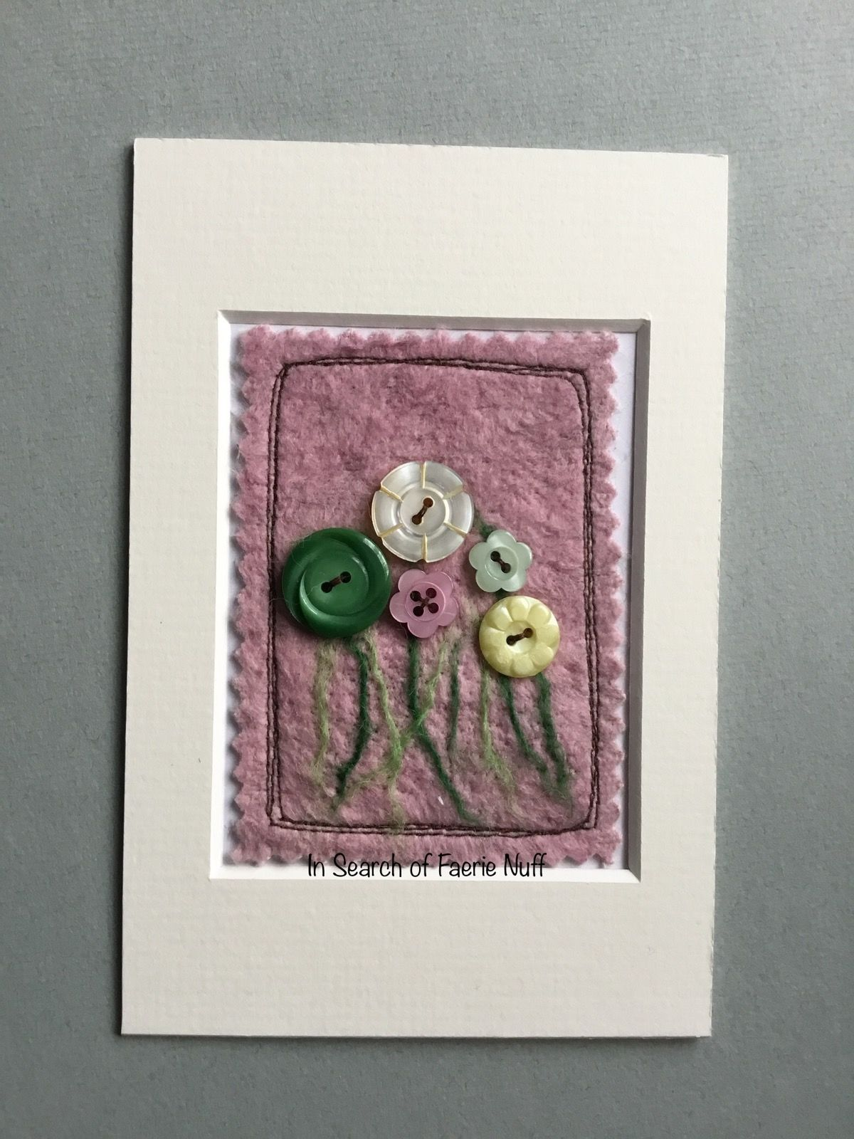 Mixed media button flower ACEO