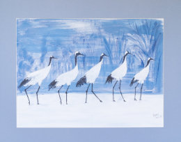 Cranes out for a walk.