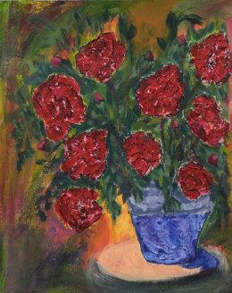 Flowers in a blue flowerpot