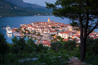 Korcula town in the evening, island Korcula, Dalmatia, Croatia