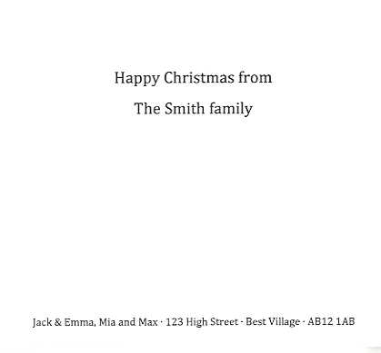 Christmas card example of personalised message