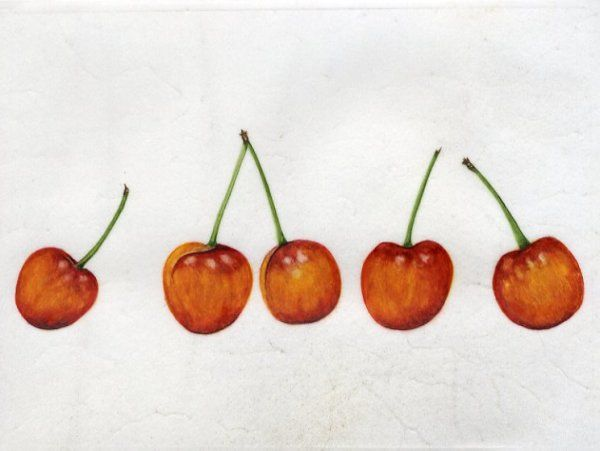 Rainier Cherries on Vellum  SOLD