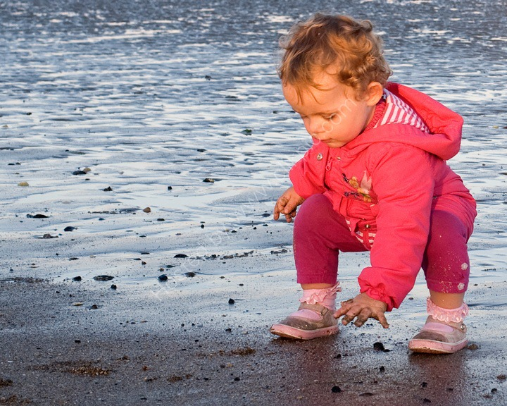 Haizea playing with the sand, Donabate, Dublin, Ireland