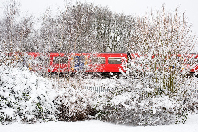 Train stuck in the snow, London, England