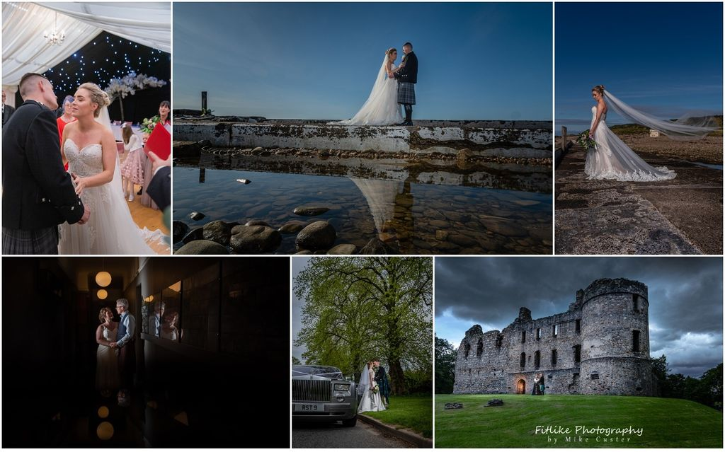 A selection of wedding photographs by Inverness Wedding Photographer Fitlike Photography. The bride and groom at the ceremony, posed at the beach on a sunny day, by there wedding car and in front of a castle.