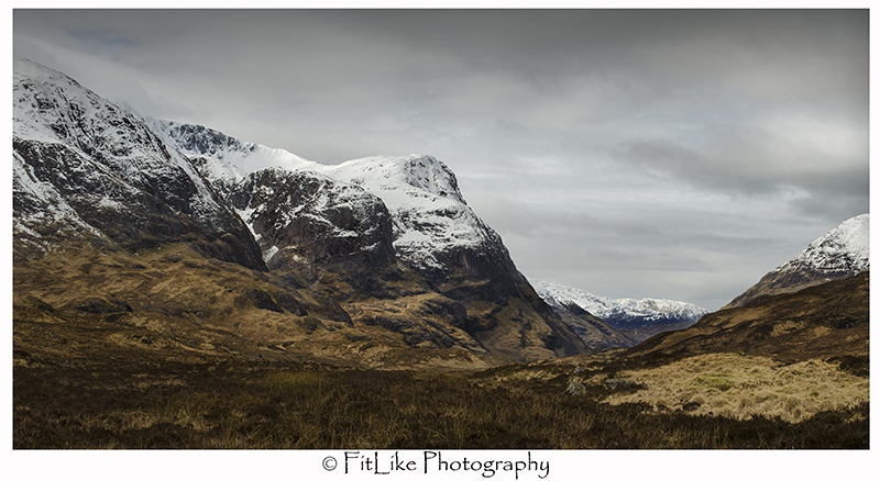 Snow covered mountains at Glencoe, Scotland.