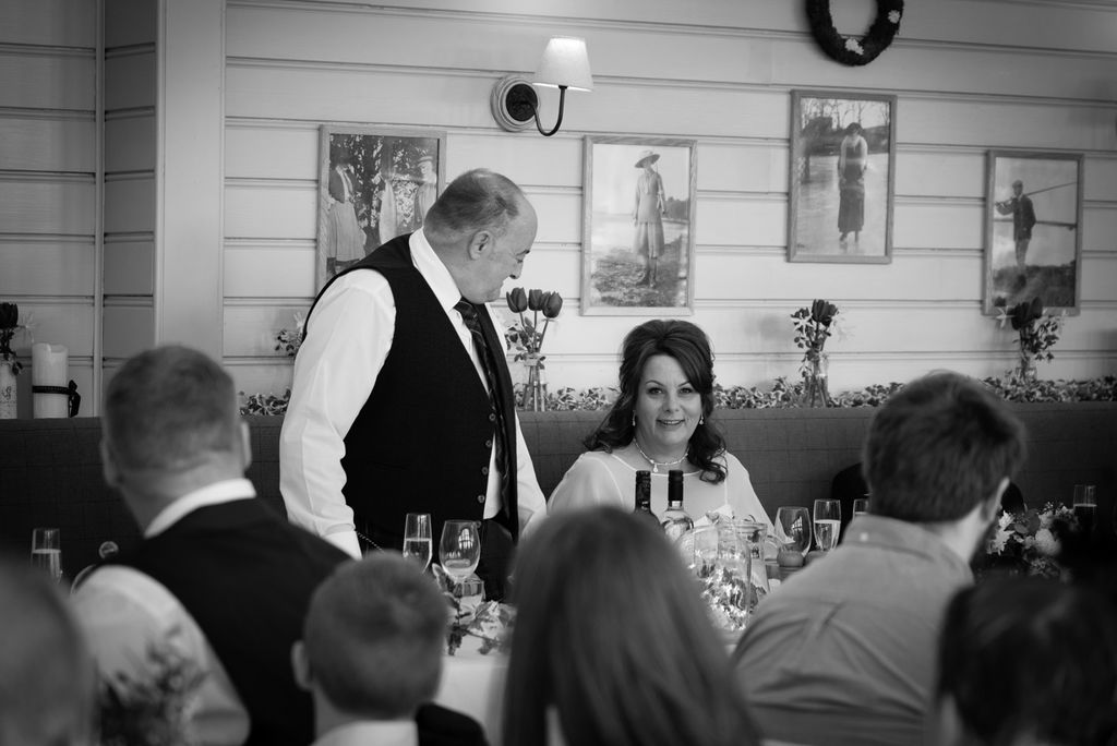 Bride and Groom during there speeches. Emotional moment.