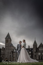 Bride and groom in front of the Highland Club, Fort Augustus