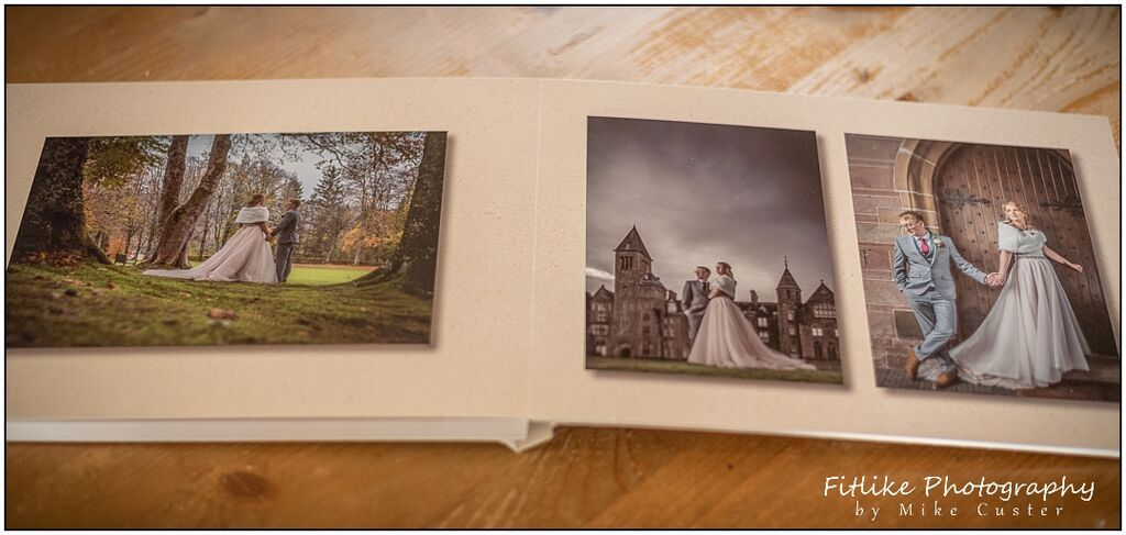 Wedding Photograph Album a Youngbook by Graphistudio . Showing lay flat pages.. Inverness Wedding Photographers. Highland Club, Fort Augustus.