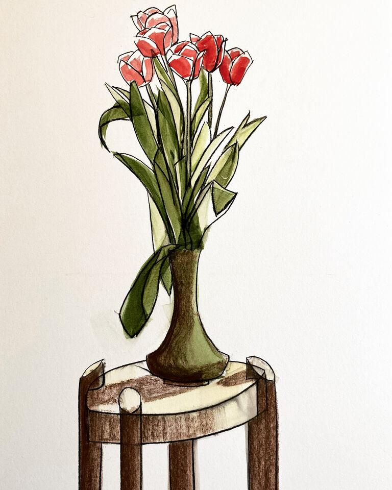 Tulips in a Cobridge vase