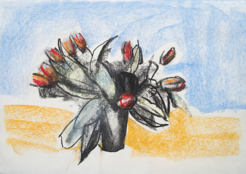 Tulips Charcoal and soft pastel