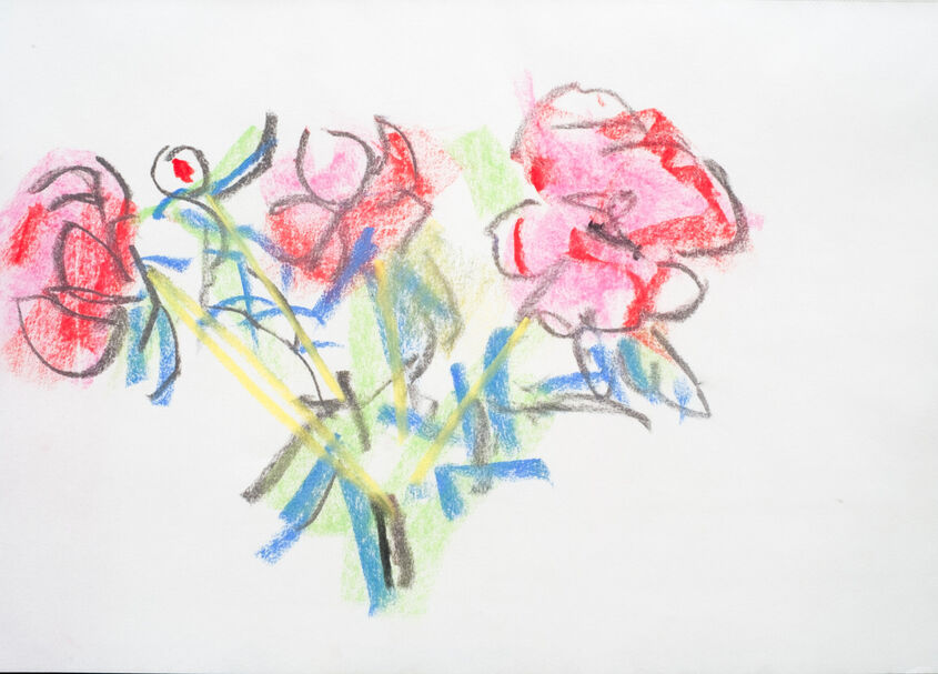 Peonies Charcoal and soft pastel.