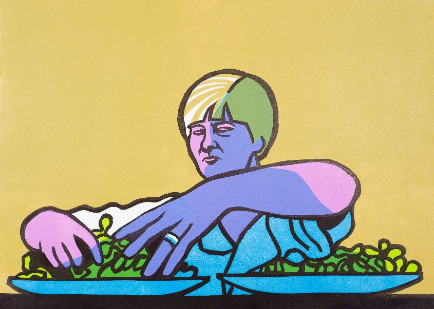 Sarah, Farmer's Wife, prepares a salad.