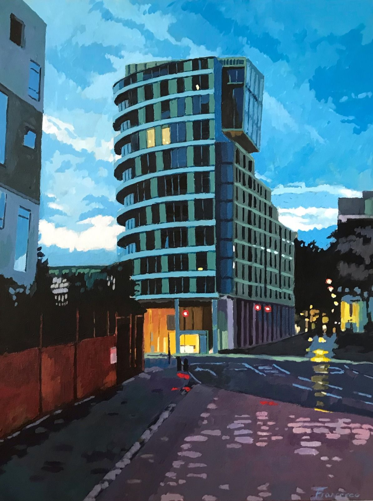 Tower block, Swiss Cottage. Acrylic on Canvas, 18x24""