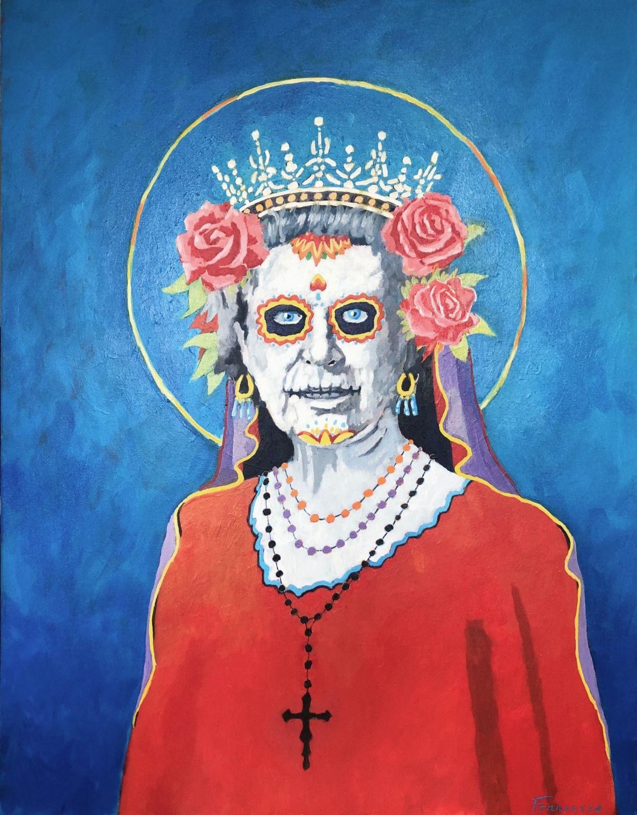 """Her Royal Highness Nuestra Señora de la Santa Muerte. Acrylic on Canvas, 30x40"""""""