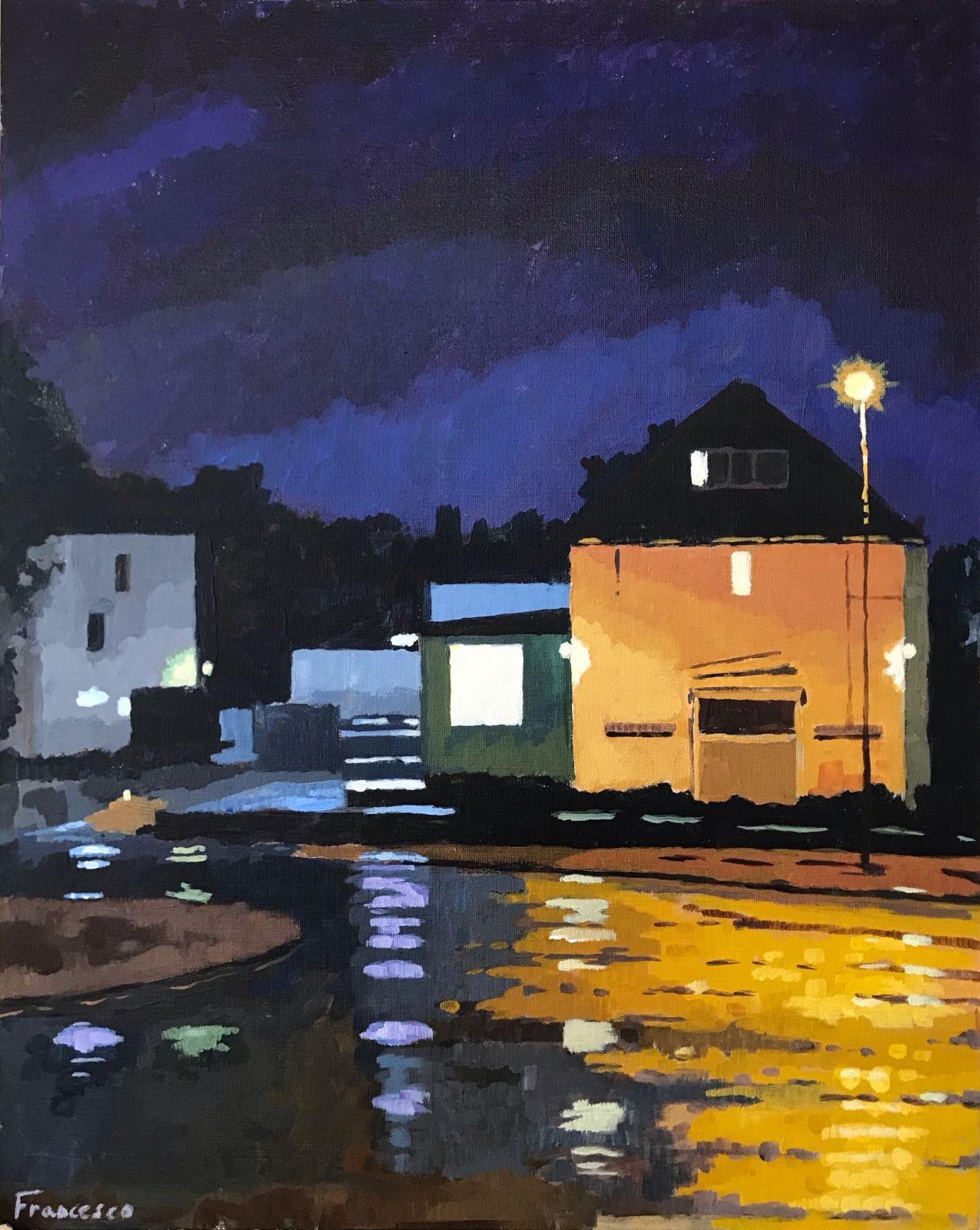 "Central Hotel, North London. Acrylic on canvas, 16x20"""