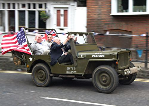 Colonel John R Ulricson arrives for the Service in  in USAAF Jeep