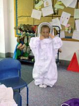 Child in a bee suit at Forest Primary School