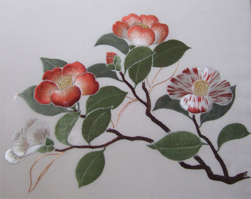 Camellias stitched for a Phase piece