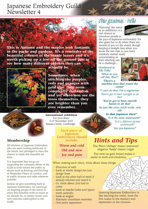 Japanese Embroidery Guild Newsletter