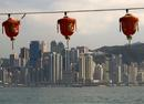 Hong Kong seafront from Kowloon with Chinese New Year lanterns.0165DHK