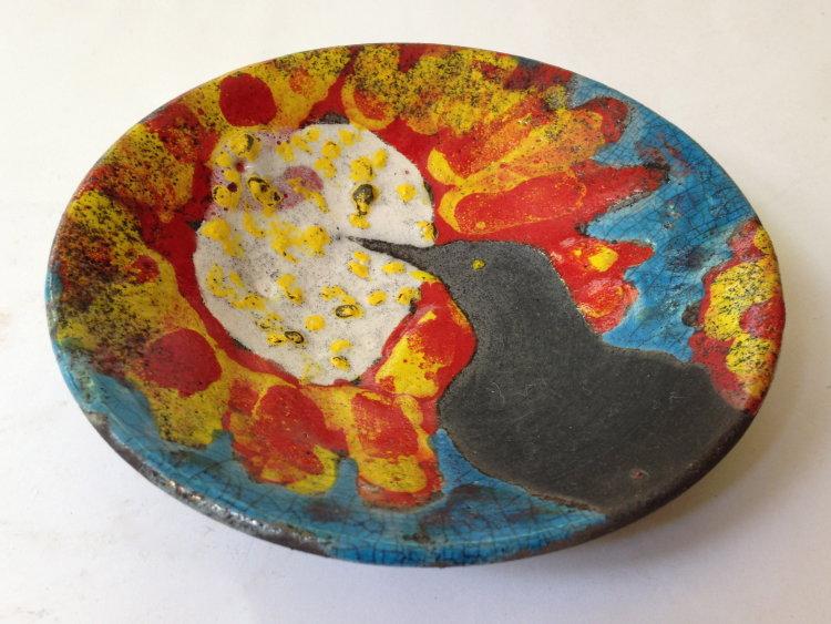 Bird pecking Sunburst Flower Bowl