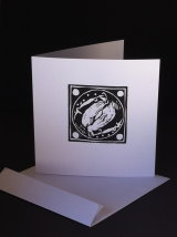 "Badgers.  A large black and white Lino-cut card. 5¼"" x 5¼""  £2.00"