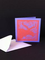 "Moose. Small coloured lino-cut card. 3¼"" x 3""  £1.50"