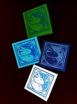 "Rabbits.  Small coloured lino-cut card. 3¼"" x 3""  £1.50"