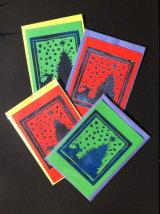 "Rabbit in Awe. larger lino-cut card. 4"" x 5¾"" £1.50"