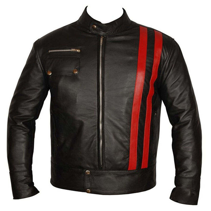 Cafe Racer Retro Style Striped Leather Jacket