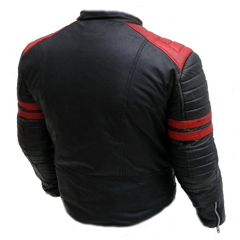 Cafe Racer Retro Style Striped Leather Jacket
