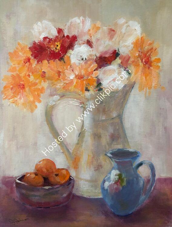 Chrysanthemum & Blue Jug