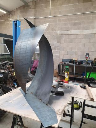 kite steel sculpture after being tacked with mig welder