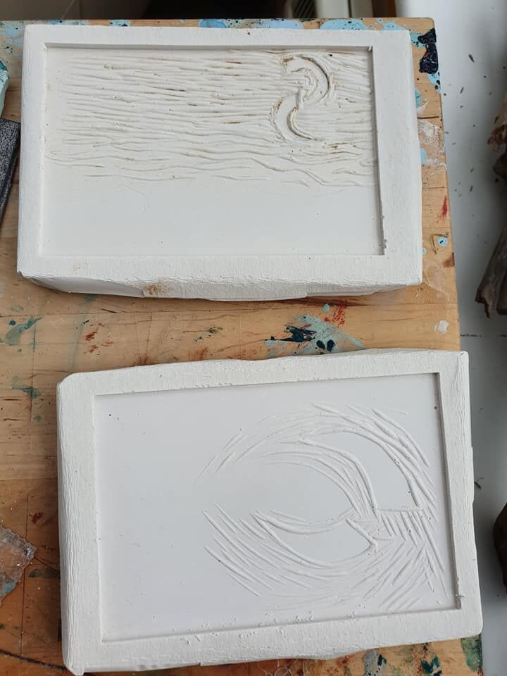 moulds taken from lino cuts