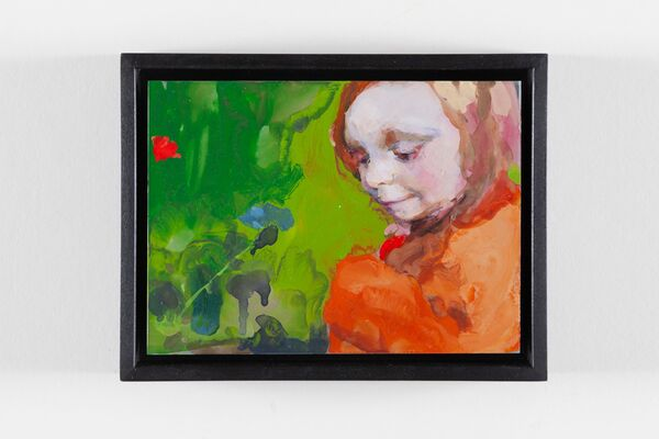 Son of a painter looking at a flower 2020 enamel on aluminium aprox 19 x 15 cm